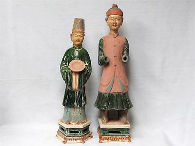 Antique Pair Of Chinese Clay Figurines, Excellent Condition, All Hand Done