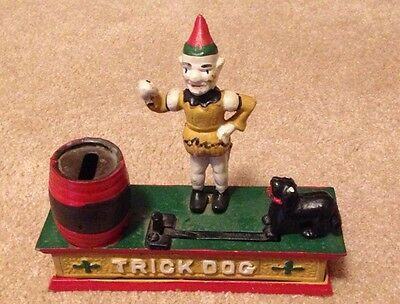 VINTAGE CAST IRON HANDPAINTED MECHANICAL BANK