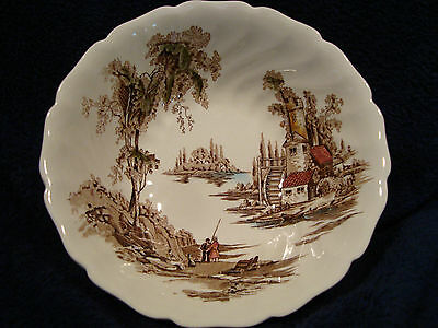 #527 one, Johnson bros. old mill multicolor brown open vegetable bowl.