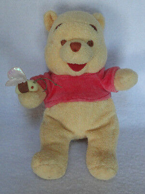 "Disney Winnie The Pooh Plush Rattle Holding Little Bee 8"" Stuffed Bear Red shirt"