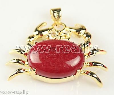 Woman's Beautiful Red Jade Crab Yellow Gold Plated Necklace Pendant