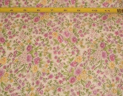2 1/4 yds Pink Yellow Flowers White Cotton Blend Dress Doll Clothes Craft Blouse