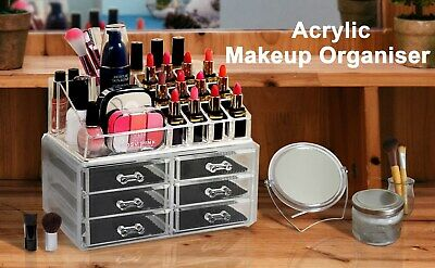 UK Clear Thick Acrylic Cosmetic Organizer 6 Drawers Makeup Case Storage Holder