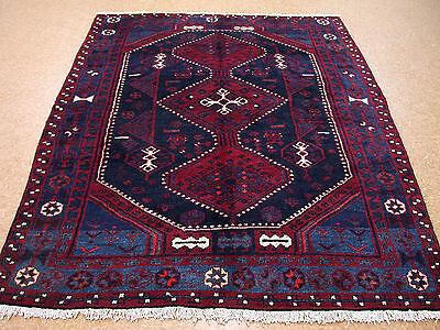 6x8 Persian Oriental Kurdish Tribal Hand Knotted Wool Navy Red Area Rug Carpet