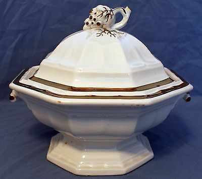 """Ironstone, Livesley & Powell, """"Grape Octagon"""" Covered Vegetable Dish"""