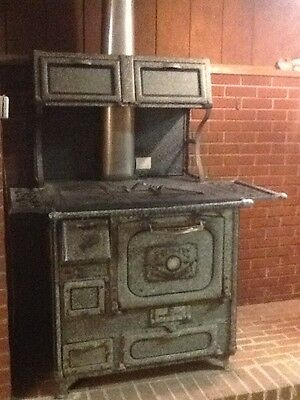 Antique 1890's Home Comfort Wood Cook Stove - Black Wrought Iron