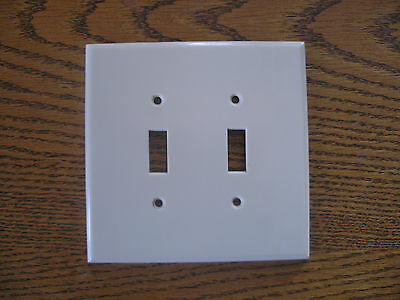 "51/8"" Leviton Jumbo Ivory Bakelite Double Switch Cover Plate"