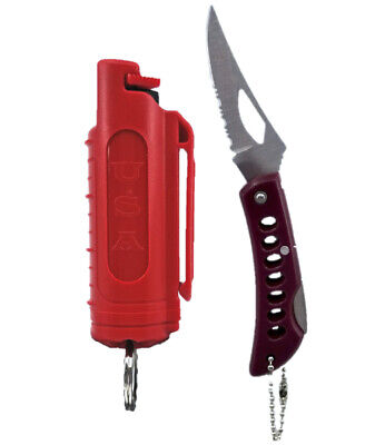 Police Magnum pepper spray .50oz red molded keychain pocket knife self defense