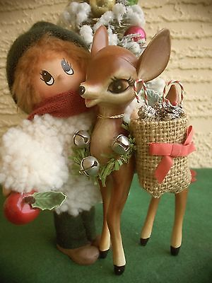 VINTAGE RARE LRG PLASTIC KITSCH FAWN DEER & BOY MIMSY COLLECTABLE CHRISTMAS DECO