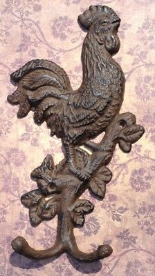 Rustic Cast Iron Rooster Wall Hook Towell Rack Hanger