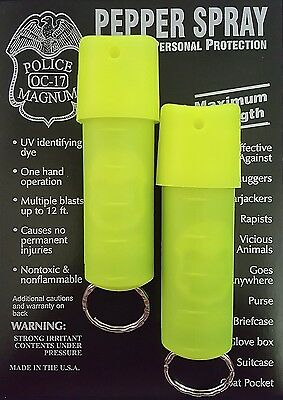 2 Police Magnum pepper spray 1/2oz neon green spin top keychain defense security
