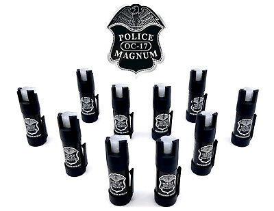 10 Pack Police Magnum Mace Pepper Spray GID Bottom Clip Self Defense Protection