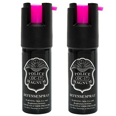 2 Police Magnum mace pepper spray 1/2oz hot pink actuator defense protection