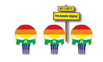 "Set of 3 Gay Pride Flag on Punisher Decal Sticker Skull 1.5"" x 2.0"""