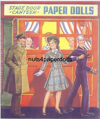Vintge Uncut Stage Door Canteen Paper Dolls Org Sz Hd~Laser Reproduction~Lo Pr
