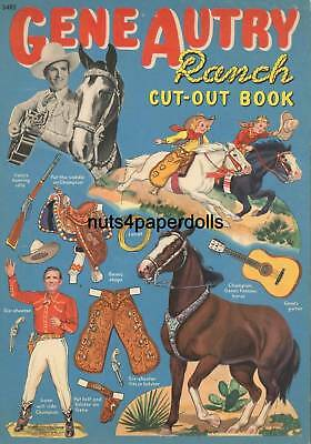 Vintage Uncut Gene Autry Paper Dolls Hd~Laser Org Sz Reproduction~Lo Price~Hi