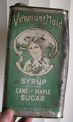 "SCARCE VINTAGE CANE & MAPLE SYRUP TIN, "" VERMONT MAID "" BURLINGTON, VT. 1 GALLON"