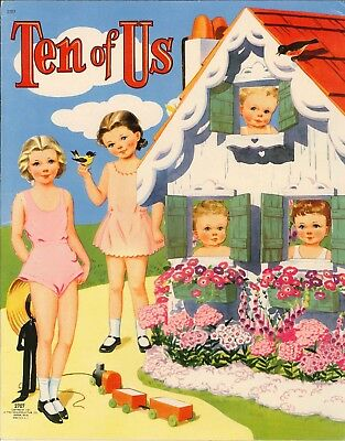 Vintage Uncut 1944 Ten Of Us Paper Dolls Hd~Laser Org Sz Reproduction~Lo Pr~Hi