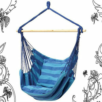 NEW Blue Hanging Rope Chair Porch Swing Seat Patio Camping Max. 265 lbs freeship