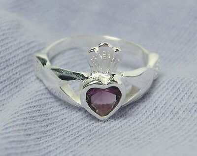 Sterling Silver Claddagh Purple Heart Cz Crown Child Baby Ring Sz 2    r59