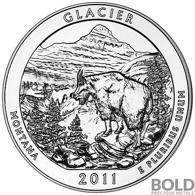 2011 5 oz Silver ATB Glacier NP Bullion Coin in Capsule