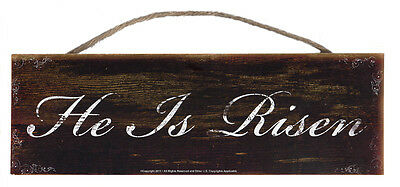 He is Risen Rustic Wall Sign Plaque Gifts Men Ladies USA Flag & Eagle Spiritual