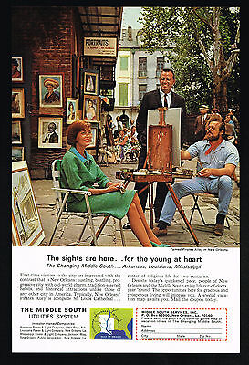 1965 New Orleans Artist Pirates Alley Photo Middle South Utilities Print Ad
