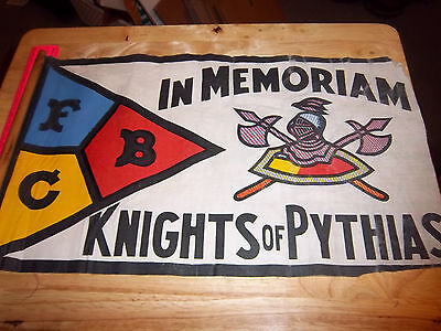 KNIGHTS of PYTHIAS, IN MEMORIAM FLAG on wood pole, FCB letters, UNIQUE! colorful