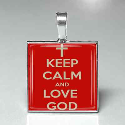 Keep calm love God religious christian glass tile necklace pendant jewelry