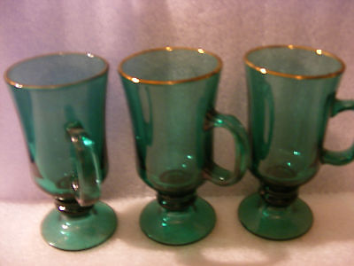 Vintage Libbey Green Glass Footed Pedestal Mugs w Gold Rim  for St. Patrick's