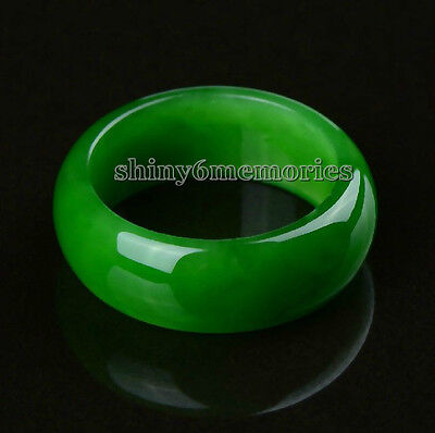 Cool green jade free shipping chinese round ring finger jewelry size 7,8,9#