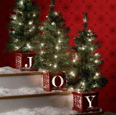 SET OF 3 Lighted Pre Lit CHRISTMAS TREES TOPIARIES indoor/Outdoor Holiday Yard