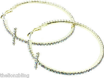 """Hip Hop Vogue Fashion Gold or Copper Cross 2 1/2"""" Hoop Earrings Crystal Bling"""