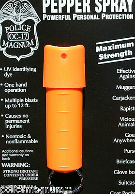 Police Magnum pepper spray .50oz orange spin top keychain defense protection