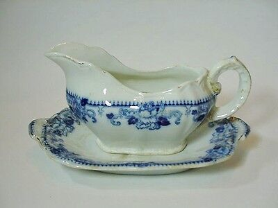 """Brownfield & Sons Pottery Flow Blue Gravy Boat w Plate """"Delft"""", Harcourt, 1891"""