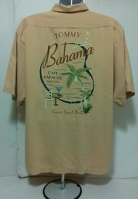 TOMMY BAHAMA PARADISE CAFE PEACH SILK EMBROIDERED CAMP SHIRT L LARGE