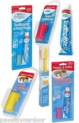 Hatchwell Dog Cat Toothbrush Denti Fresh Meat Toothpaste Finger Puppy Kitten