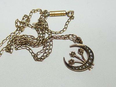 Antique Victorian 9CT Solid Rose Gold Seed Pearl Crescent Flowers Pendant Chain