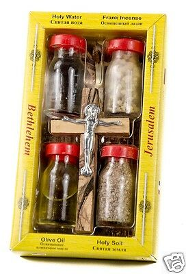 Blessed Set Holy Water Soil Oil Incense Jesus Olive Wood Crucifix Jerusalem