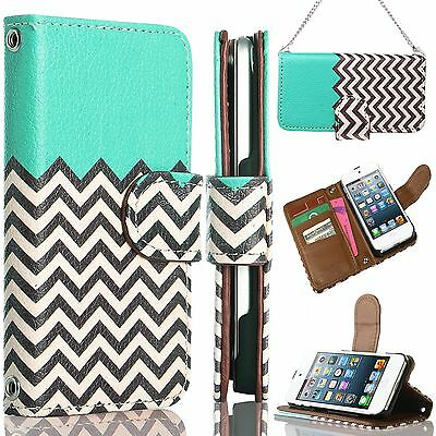 For iPod Touch 5th Flip Leather Wallet High Impact Armor Case Black Hybrid Cover