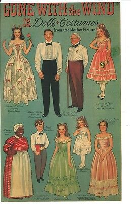 VINTAGE UNCUT 1940 GONE WITH THE WIND PAPER DOLLS HD~DIGITAL ORG SZ REPRODUCTION