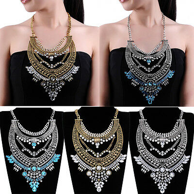 New Vintage Gold Silver Metal Chain Crystal Glass Statement Bib Pendant Necklace