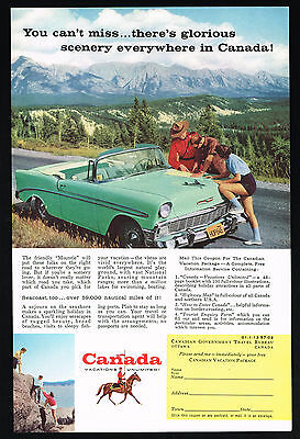 1957 Canada Travel RCMP Canadian Mountie 1956 Chevrolet Car Print Ad