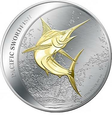Fiji 2011 $2 Pacific Swordfish 1 Oz Gilded Silver Prooflike Coin