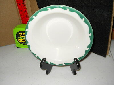 Sterling Restaurant Ware Vitrified China Soup Salad Bowl # G-7 White Green Wave
