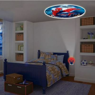 Spider Man Kids Bedroom LED Plug-In Night Light Projectable Decor Ceiling Lamp