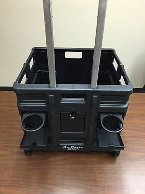 (6 Carts 1 price) Plastic Folding Crate/Cart Rolling, Cup Holder, Ext Handle BLK
