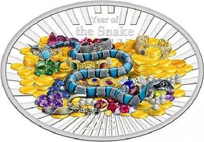 Niue 2013 $2 Lunar Year of the Snake - Lucky Oval Coin 1 Oz Silver Proof Coin