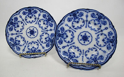 """2~Antique CONWAY Pattern New Wharf Pottery Staffordshire Flow Blue 10"""" Plate yqz"""
