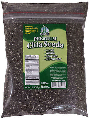 3 LB 100% PURE PREMIUM BLACK CHIA SEEDS VEGAN GLUTEN-FREE Non-GMO GROWN ORGANIC